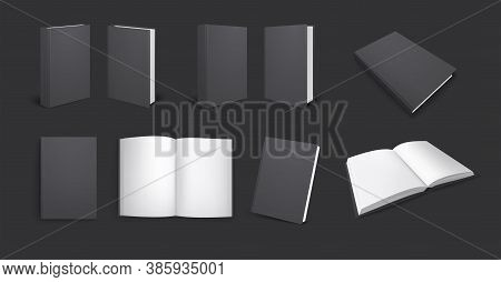 Black Books Mockup Realistic Set With Views Of Dark Copybook From Different Angles With Empty Pages