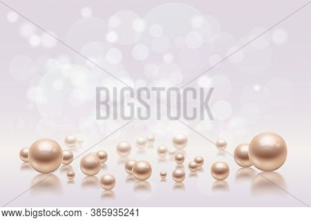 Realistic Pearls Background Composition With Images Of Pearl Beads Of Different Size And Blurred Fla