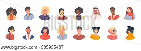 Diverse Avatars. Multicultural Men And Women Characters Social Icons, Crowd Of Diverse Peoples. Vect