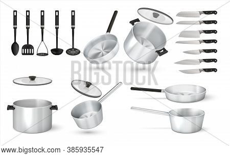 Realistic Utensil. 3d Steel Cooking Pots, Metal Frying Pan And Aluminum Saucepan, Knives And Cooking