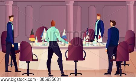 Diplomacy And Negotiations Background With Multinational Discussion Symbols Flat Vector Illustration
