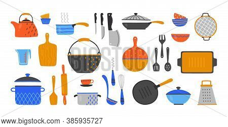 Cartoon Utensil. Hand Drawn Cookery And Kitchen Equipment, Doodle Kitchenware And Cutlery. Vector Se
