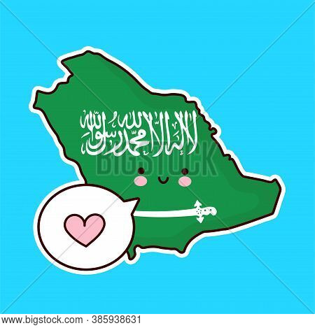 Cute Happy Funny Saudi Arabia Map And Flag Character With Heart In Speech Bubble. Vector Flat Line C