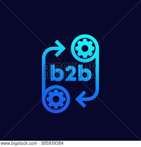 B2b Icon With Gears, Vector, Eps 10 File, Easy To Edit