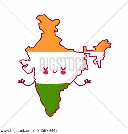Cute Happy Funny India Map And Flag Character Meditate. Vector Flat Line Cartoon Kawaii Character Il