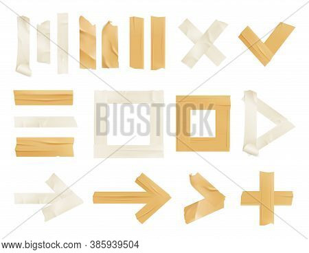 Sticky Adhesive Tape Realistic Icon Set With Isolated Tape Pieces Of Golden And White Colors Vector