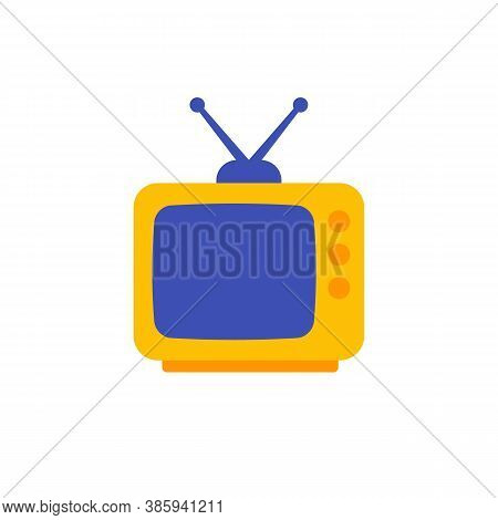 Tv With Antenna, Old Television Icon, Flat Design, Eps 10 File, Easy To Edit