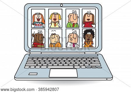 This Team Use Computer For Video Conference And Formation. Actually, The Training Online Grow Up Mor