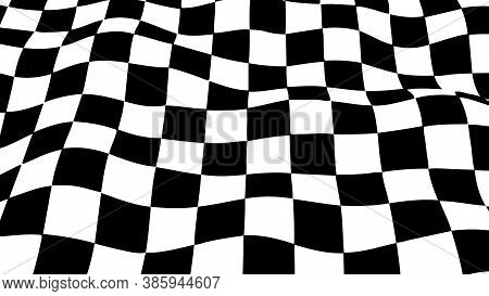 Distorted Grid. Wave Is A Distortion Effect. Optical Illusion. Circular Mesh Stripes Or Background W