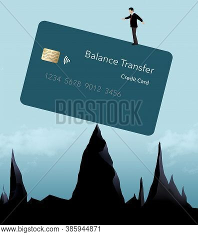 A Man Stands On Top Of A Balance Transfer Credit Card That Is Balanced On Mountain Peaks. Illustrati