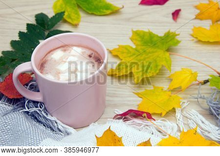 Hot Cocoa Or Hot Chocolate With Marshmallows. Yellow Leaves. Mug Of Hot Chocolate With Marshmallows