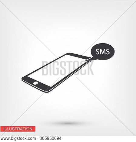 Contour Sms Phone Icon Isolated On Application, Sms Phone Logo, User Interface. Editable Barcode Sms