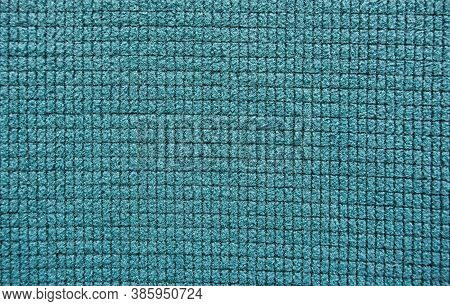 Soft Blue Fleece With A Micro Grid Pattern. Textured Soft Background
