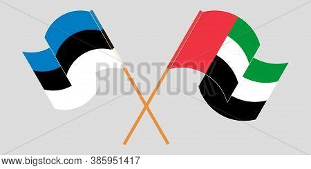 Crossed And Waving Flags Of Estonia And The United Arab Emirates. Vector Illustration