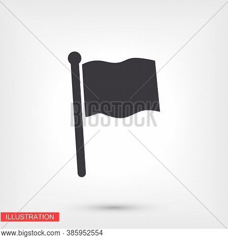 Outline Flag Icon, Isolated On Attachment, Flag Logo, User Interface. Editable Barcode Flag. Vector