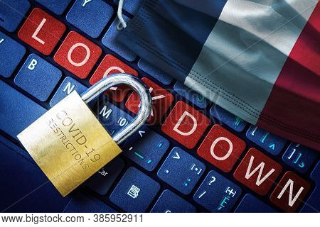 France Covid-19 Coronavirus Lockdown Restrictions Concept Illustrated By Padlock On Laptop Red Alert