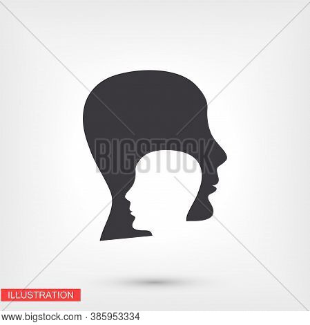 Head Outline Icon Isolated On Background. Head Symbol For Website Design, Head Mobile App, Head Logo