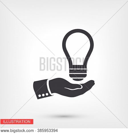 Light Bulb, Icon. Hand Makes Light. Light Bulb Over Hand. There Is Light In The Hand. Vector Eps 10.