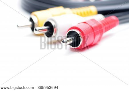 Analog Audio Video Cable Of Rca Standard On White Background