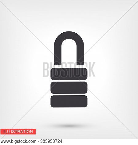 Lock Icon In Trendy Flat Style Isolated On Background. Lock Symbol For Your Web Design, Castle Logo,