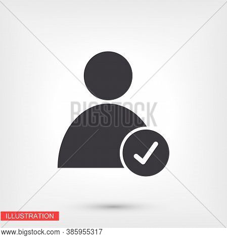 Men Check Mark Vector Icon. Check Mark. Person With A Mark On The Side. Vector Graphics. Human Icon