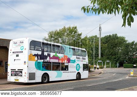 Canterbury, Kent, England - September 14 2020: Wincheap Park And Ride Bus Parked At The Terminus Sto