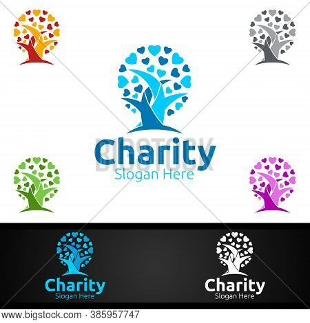 Tree Helping Hand Charity Foundation Creative Logo For Voluntary Church Or Charity Donation