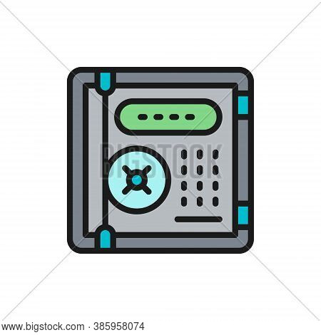 Electronic Safe, Personal Protection, Cryptography Flat Color Line Icon.