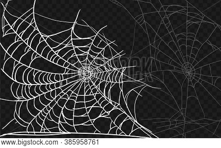 Set Of Different Spiderwebs Isolated On Black, Easy To Print. Halloween Set With Web. Vector Illustr