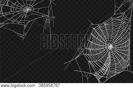 Halloween Monochrome Spider Web. Set Of Different Spiderwebs Isolated On Black, Easy To Print. Hallo