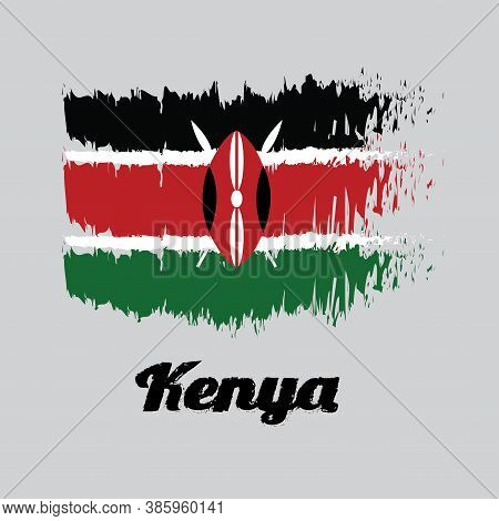 Brush Style Color Flag Of Kenya Flag, Black White Red And Green With Two Crossed White Spears Behind