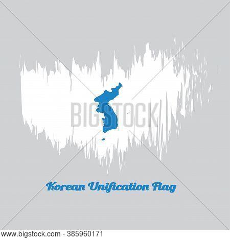 Brush Style Color Flag Of Korean Unification Flag, North Korea, South Korea And Korean Peninsula In