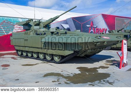 Moscow Region, Russia - August 27, 2020: Armata T-15 Infantry Fighting Vehicle With Inzhal Combat Mo