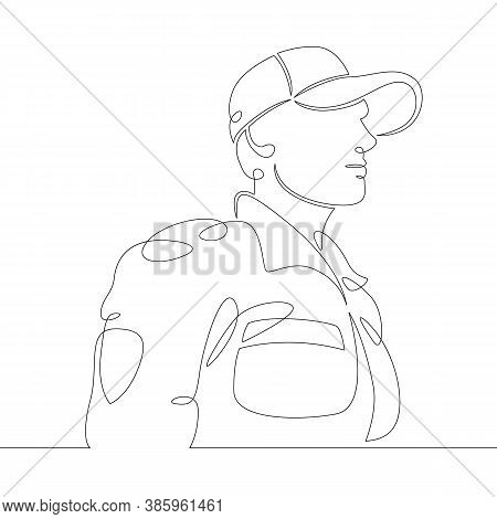 One Continuous Drawing Line Logo Firefighter Fireman Rescuer In Uniform And Helmet At Work .single H