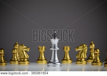 The Silver King Chess Stands In The Middle Of The Golden Chess, The King Wins The Game, Success, Str