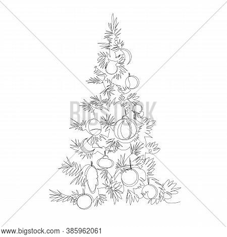Christmas Tree. Contour Vector Drawing. One Continuous Line. Infinite Line