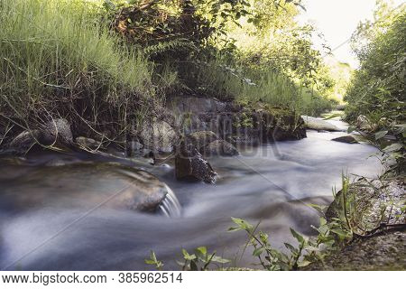Slow Shutter Photo Of A River Surrounded With Green Plants.