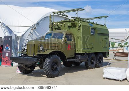Moscow Region, Russia - August 25, 2020: Army Car Radio Station R-140 Based On The Soviet Retro Truc