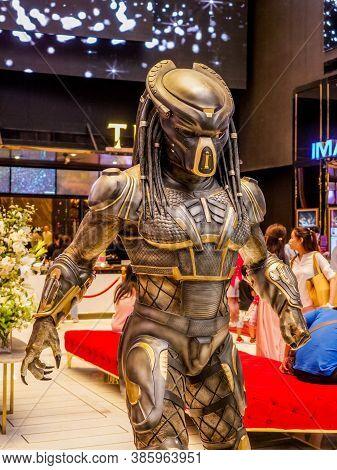 Bangkok, Thailand - February 2, 2019: Model Of Human Size Predator From The Movie The Predator Displ