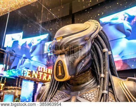 Bangkok, Thailand - February 2, 2019: Close-up Of Predator From The Movie The Predator Displays At T