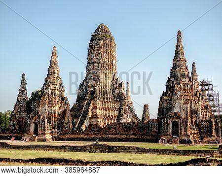 Ayutthaya, Thailand - November 5, 2018: Sculpture Landscape Of Ancient Old Pagoda At Wat Chai Wattan