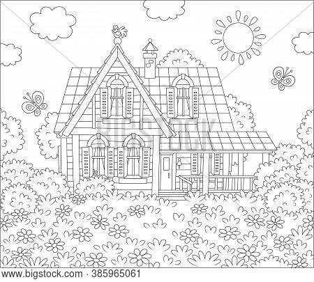 Small Village House And A Lawn With Flowers And Flittering Butterflies On A Sunny Summer Day, Black