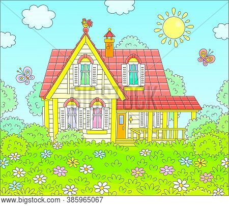 Colorful Village House And A Green Lawn With Flowers And Flittering Butterflies On A Sunny Summer Da
