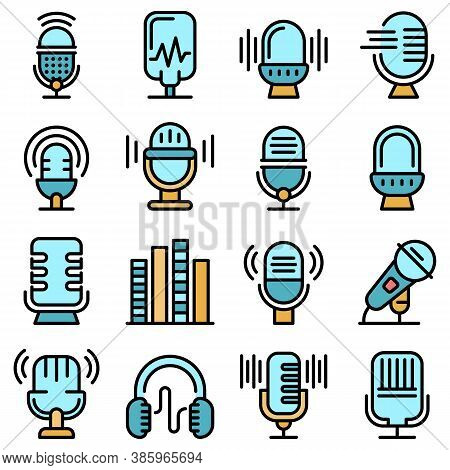 Podcast Icons Set. Outline Set Of Podcast Vector Icons Thin Line Color Flat On White