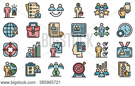 Outsource Icons Set. Outline Set Of Outsource Vector Icons Thin Line Color Flat On White