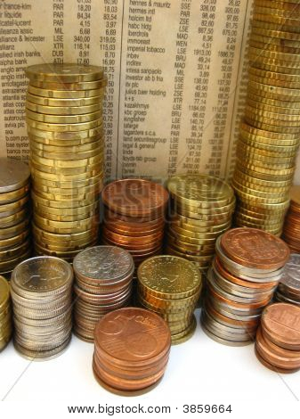 Stack Of Coins With Newspaper Background
