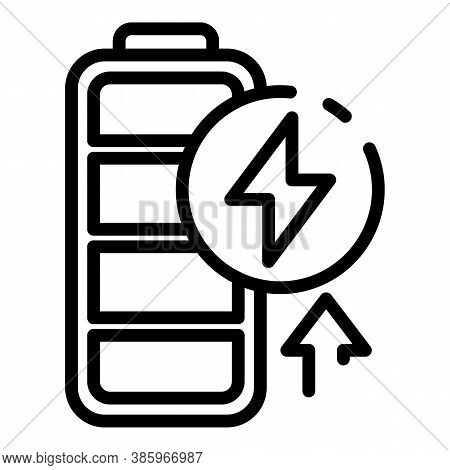 Charging Battery Icon. Outline Charging Battery Vector Icon For Web Design Isolated On White Backgro