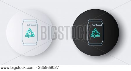 Line Can With Recycle Symbol And Can Icon Isolated On Grey Background. Trash Can Icon. Garbage Bin S