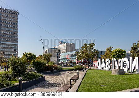 Novi Sad, Serbia - August 31, 2020: Gazprom - Nis Business Building Company Headquarters In Novi Sad