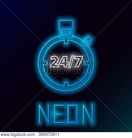 Glowing Neon Line Stopwatch 24 Hours Icon Isolated On Black Background. All Day Cyclic Icon. 24 Hour